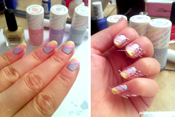 Picture Polish Mellow Yellow, Model's Own Blueberry Muffin, Model's Own Strawberry Tart, Model's Own Grape Fruit, Essie Blanc, Candy Nail art by Petit Bazar De Fille
